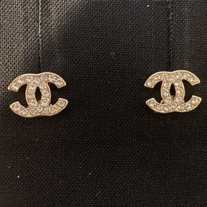 CHANEL Gold Tone Earrings Mini
